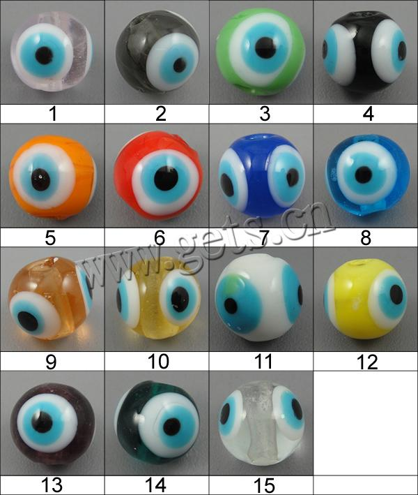 Evil Eye Lampwork Beads, Round, more colors for choice, 10mm, Hole:Approx 1mm, Sold By PC