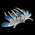 Decorative Hair Combs, Zinc Alloy, Flower, with rhinestone, nickel, lead & cadmium free, 80x77mm, 12PCs/Bag, Sold By Bag
