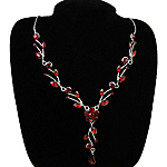 Rhinestone Brass Necklace, with Acrylic & Acrylic, with rhinestone, red, nickel, lead & cadmium free, 16mm, Sold Per 15.5 Inch Strand