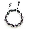 Rhinestone Woven Ball Bracelets, with Hematite, handmade, with Czech rhinestone, 10mm, Length:7-10 Inch, Sold By Strand