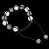 Rhinestone Woven Ball Bracelets, with Hematite, handmade, with Czech rhinestone, 8-10mm, Length:6-10 Inch, Sold By Strand
