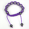 Rhinestone Woven Ball Bracelets, with Hematite, with Mideast rhinestone, purple, Length:6-10 Inch, Sold By Strand