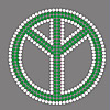 Rhinestone Hot Fix Motif, Peace Logo, Grade AA, 221x210mm, Sold By PC