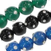 Rhinestone Agate Beads