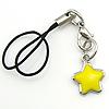 Fashion Mobile Phone Lanyard, Zinc Alloy, Star, enamel, yellow, 12x12x3mm, Length:3.5 Inch, Sold By Strand