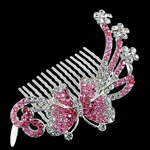 Decorative Hair Combs, Zinc Alloy, with Rhinestone, Flower, more colors for choice, nickel, lead & cadmium free, 83x51x22mm, Sold By PC