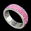 Rhinestone Stainless Steel Finger Ring, with Mideast rhinestone, pink, 6.5mm, Hole:Approx 18mm, Size:8, Sold By PC