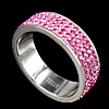 Rhinestone Stainless Steel Finger Ring, with Mideast rhinestone, pink, Hole:Approx 17mm, Size:6.5, Sold By PC