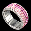 Rhinestone Stainless Steel Finger Ring, with Mideast rhinestone, pink, 8mm, Hole:Approx 16mm, Size:5.5, Sold By PC
