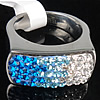 Rhinestone Stainless Steel Finger Ring, Rectangle, with Mideast rhinestone, Hole:Approx 17mm, Size:6.5, Sold By PC