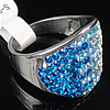 Rhinestone Stainless Steel Finger Ring, with Mideast rhinestone, 18mm, Hole:Approx 17mm, Size:6.5, Sold By PC