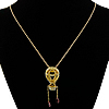 Rhinestone Brass Necklace, with iron chain, ball chain & with rhinestone & hollow, 23x68mm, Length:23 Inch, 16Strands/Lot, Sold By Lot