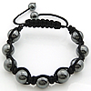 Hematite Woven Ball Bracelets, with Nylon Cord, handmade, Length:7-10 Inch, Sold By Strand