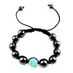 Hematite Shamballa Bracelets, with Nylon Cord, handmade, with resin rhinestone, more colors for choice, 12mm, 10mm, 8mm, Sold Per 6 Inch Strand