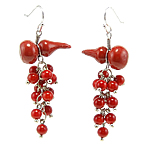 Coral Drop Earring, Synthetic Coral, iron earring hook, Calabash, with rhinestone, red, 23x58mm, 12Pairs/Bag, Sold By Bag