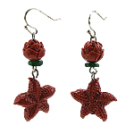 Coral Drop Earring, Synthetic Coral, iron earring hook, Star, with rhinestone, red, 12Pairs/Bag, Sold By Bag