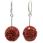 Coral Drop Earring, Synthetic Coral, iron earring hook, Round, red, 18x50mm, 12Pairs/Bag, Sold By Bag