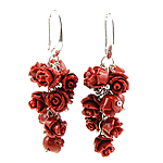 Coral Drop Earring, Synthetic Coral, iron earring hook, Flower, red, 20x55mm, 12Pairs/Bag, Sold By Bag