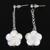 White Shell Earrings, brass post pin, Flower, 14.5x39x7mm, Length:1.5 Inch, Sold By Pair