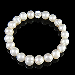 Freshwater Pearl Bracelet, with Rhinestone Clay Pave Bead, Length:7 Inch, Sold By Strand