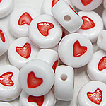 Plastic Pony Beads, Coin, enamel, white, 4x7mm, Hole:Approx 1mm, 3600PCs/Bag, Sold By Bag