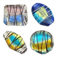 colorful Foil Lampwork Beads