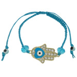 Hamsa Bracelets, Zinc Alloy, with Wax Cord, Hand, plated, enamel & with rhinestone, more colors for choice, 38x22x3mm, Length:7.5 Inch, Sold By Strand