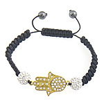 Hamsa Bracelets, Zinc Alloy, with Nylon Cord, Hand, with rhinestone, 25x19x2mm, 10mm, 8mm, Length:Approx 7-10 Inch, Sold By Strand
