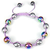Hematite Shamballa Bracelets, with Nylon Cord, Round, colorful plated, Length:Approx 6-9 Inch, Sold By Strand