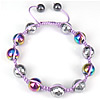 Hematite Shamballa Bracelets, with Nylon Cord, Round, colorful plated, 10mm, 8mm, Length:Approx 6-9 Inch, Sold By Strand