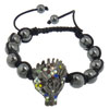 Hematite Woven Ball Bracelets, with Nylon Cord & Zinc Alloy, Wolf, handmade, with rhinestone, Length:Approx 6-10 Inch, Sold By Strand