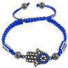Hamsa Bracelets, Zinc Alloy, with Nylon Cord, Hand, with rhinestone, dark blue, Length:Approx 7-10 Inch, Sold By Strand