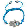 Hamsa Bracelets, Zinc Alloy, with Nylon Cord & Lampwork, Hand, enamel & with rhinestone, blue, Length:Approx 6.6-10 Inch, Sold By Strand