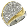 Rhinestone Stainless Steel Finger Ring, with Rhinestone Clay Pave, with rhinestone & two tone, 24x20.5mm, 17.5mm, Size:7, Sold By PC
