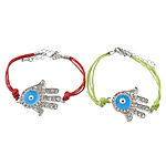 Hamsa Bracelets, Zinc Alloy, with Wax Cord, brass lobster clasp, Hand, plated, Customized & enamel & with rhinestone, more colors for choice, 26x36mm, 4mm, Length:Approx 7 Inch, Sold By Strand