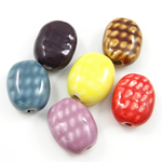 Antique Porcelain Beads, Oval, large hole & Imitation Antique, mixed colors, 16x20x9mm, Hole:Approx 3mm, Sold By PC