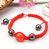 Hematite Woven Ball Bracelets, with Cats Eye & Nylon Cord, handmade, red, Length:Approx 7.4 Inch, Sold By Strand