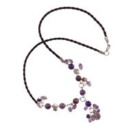 Gemstone Necklaces, Amethyst, with leather cord, 8mm, Sold Per 16.5 Inch Strand