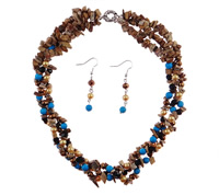 Jewelry Gift Sets, Gemstone, earring & necklace, Length:16 Inch, Sold By Set