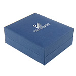 Wood Pendant Box, with Paper, Rectangle, blue, 80x70x30mm, Sold By PC