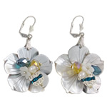 White Shell Earrings, with Crystal, iron earring lever back clip, Flower, with pearl & with rhinestone, 31x53x16mm, Sold By Pair