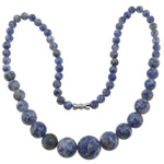 Gemstone Necklaces, Blue Spot, zinc alloy screw clasp, Round, 6-14mm, Length:Approx 17 Inch, Sold By Strand