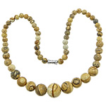 Gemstone Necklaces, Picture Jasper, zinc alloy screw clasp, Round, 6-14mm, Length:Approx 17 Inch, Sold By Strand