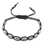 Hematite Shamballa Bracelets, with Wax Cord & Nylon Cord, platinum color plated, 8x5.5mm, Sold Per Approx 7-10 Inch Strand
