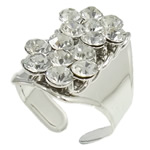 Iron Finger Ring, platinum color plated, with A grade rhinestone, nickel, lead & cadmium free, 22x26.5x27.5mm, Hole:Approx 21mm, US Ring Size:11.5, Sold By PC