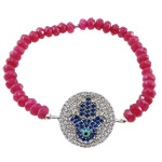 Hamsa Bracelets, Zinc Alloy, with Elastic Thread, Round, plated, with cubic zirconia, more colors for choice, 25.5x19.8x2mm, 3x5mm, Sold Per Approx 6 Inch Strand