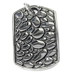 Stainless Steel Pendants, Rectangle, blacken, 41x26x2.5mm, Hole:Approx 6mm, Sold By PC