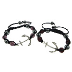Hematite Shamballa Bracelets, with Wax Cord & Rhinestone Clay Pave Bead & Zinc Alloy, Anchor, Customized, more colors for choice, 34x26x3.5mm, 10mm, 9mm, 8mm, Length:Approx 6-11 Inch, Sold By Strand