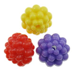 Plastic Pony Beads, Flower, solid color, mixed colors, 14mm, Hole:Approx 2mm, Approx 360PCs/Bag, Sold By Bag