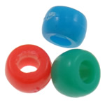 Plastic Pony Beads, Rondelle, solid color, mixed colors, 8x10mm, Hole:Approx 4mm, 1200PCs/Bag, Sold By Bag